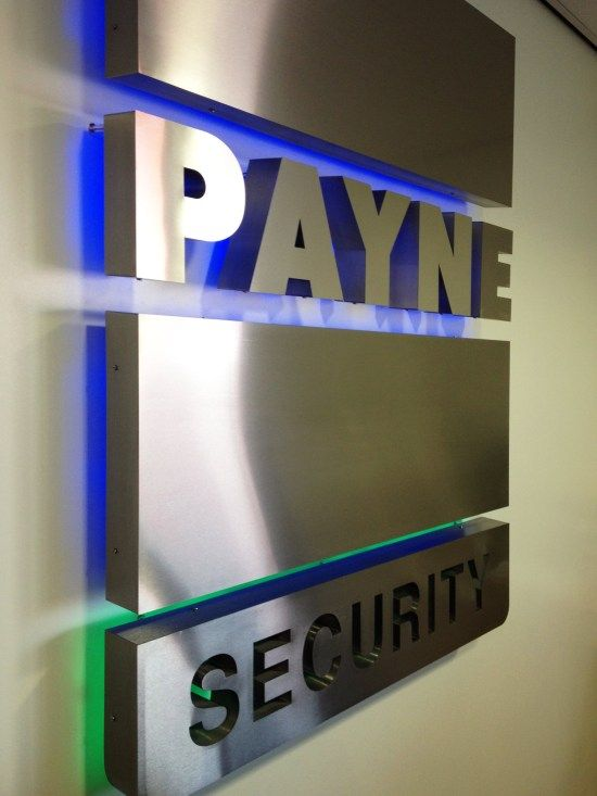 LED illuminated sign with brushed stainless steel.  Edge signs