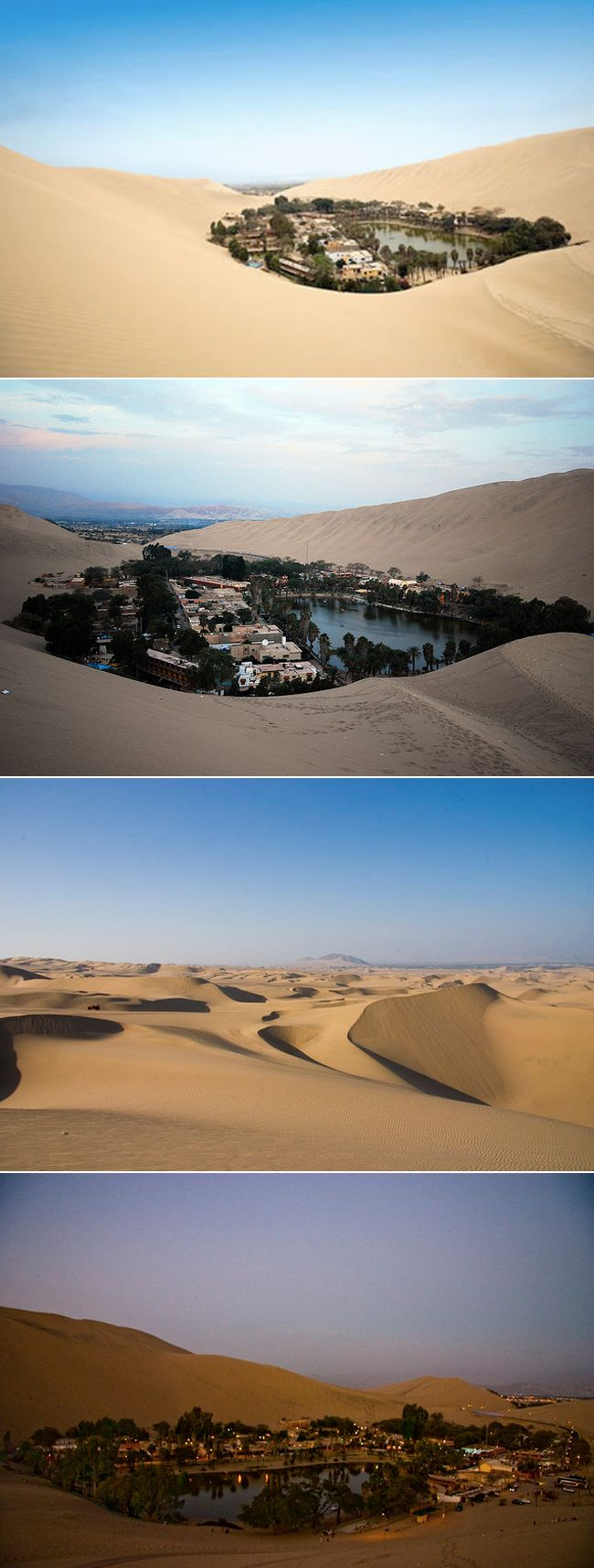 Huacachina, Peru. An oasis in the middle of the dessert, full of backpackers, expats, adventure travel and many fun sports activities.   Tip: sand-surfing the sand dunes is an adventure not to be missed!!