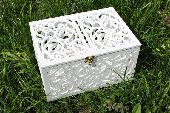 ♥ ITEM DETAILS ♥ Wedding Card Box (money box) with figured hand-carved is great addition to any wedding. This card holder will keep all your wedding day wishes and gifts wrapped up in high style! Both fashionable and functional, this unique reception accessory will not only keep your gift table under control, but theyll keep it looking fabulous as well! White is a great color that can easily be incorporated into any wedding day setting! After the wedding you can turn it into a charming…