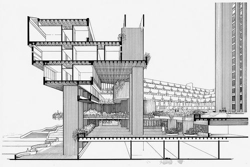 drawing of Boston Government Services Center by Paul Rudolph