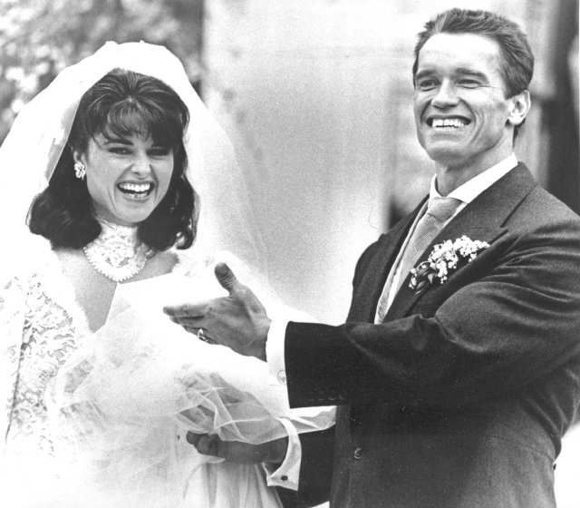 April 26, 1986:  Arnold Schwarzenegger and  Maria Shriver are shown leaving St. Francis Xavier Church, immediately after their wedding ceremony.