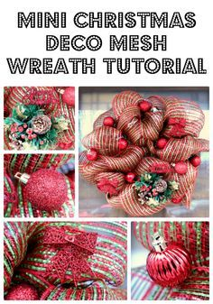 Mini Christmas Deco Mesh Wreath Tutorial | BigBearsWife.com