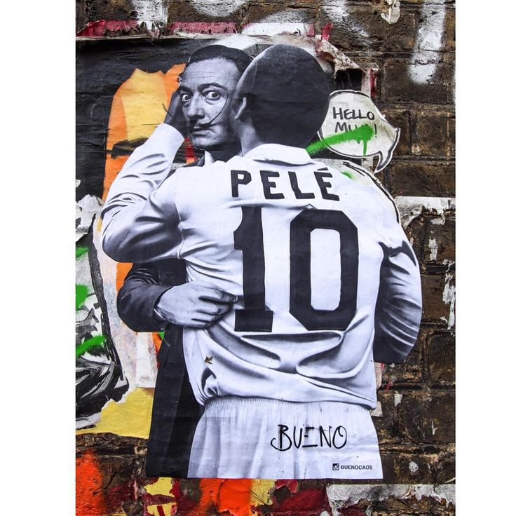 """""""Really pleased to find this superb paste-up of Pelé embracing Salvadaor Dali by the Brazilian artist Luis Bueno aka @buenocaos #streetart #spraycanart…"""""""