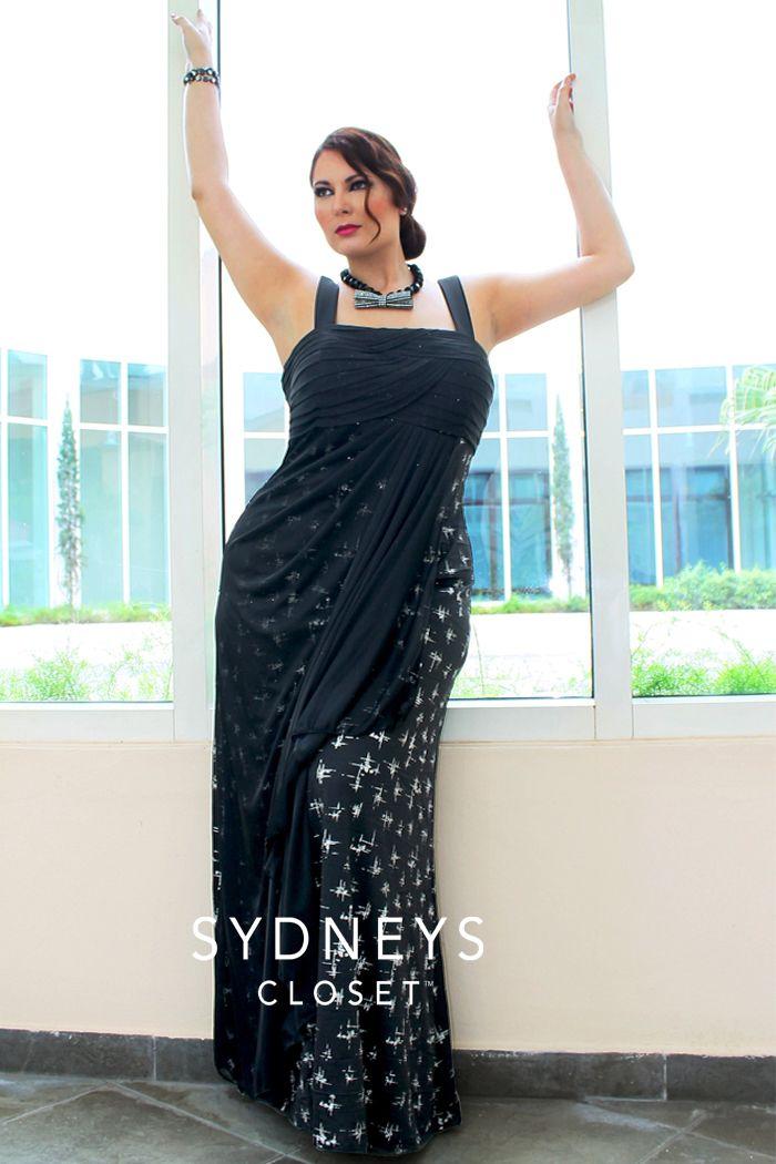 Plus size black knit maxi dress