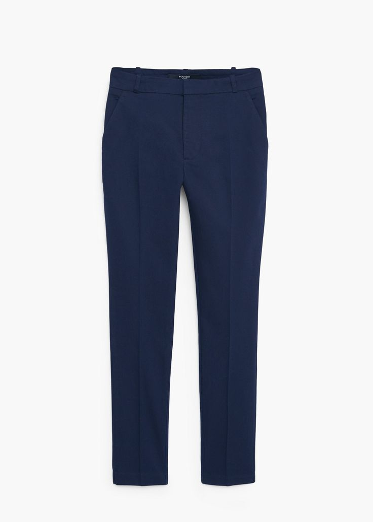Straight cotton trousers - and black
