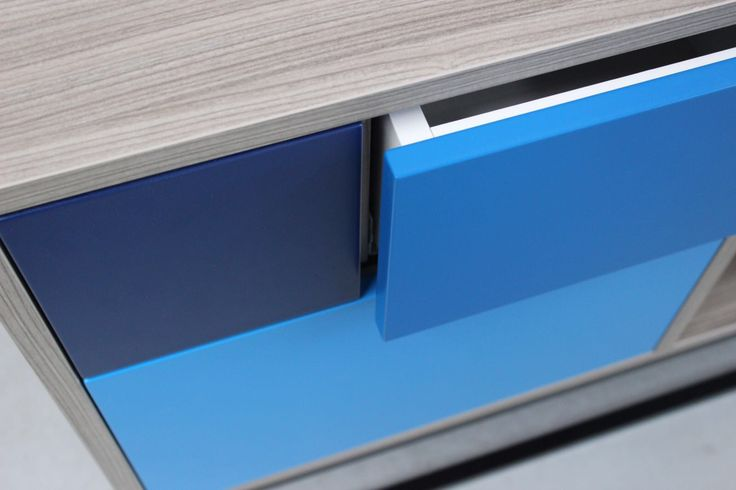 """The Royal Sideboard has a """"touch and go"""" system in the drawers. It means you won't have any trouble by open it. Just press in the center, which the drawer opens and slides very easy. #bluesideboard #modernsideboard #sideboard #contemporarydesign"""