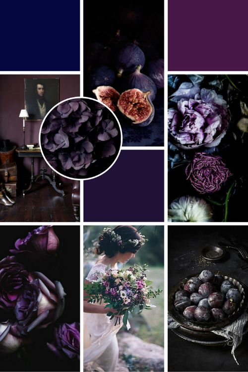Midweek Moodboard: Plum Perfection (deep rich purple and shadowy tones - the perfect moody colour palette for a Winter wedding!)
