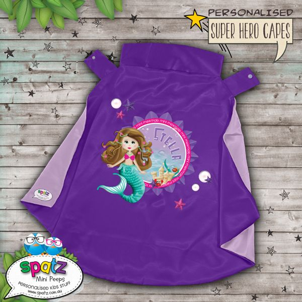 Mini Mermaid Personalised Super Hero Kids Cape – Purple / Lilac  Is it a bird? Is it a plane? Nope, its way better than that. Its an awesome personalised SPATZ Mini Peeps® Personalised Kids Super Hero Cape! Complete and unique with a SUPER AWESOME design with your child's name placed on the back. www.spatz.com.au