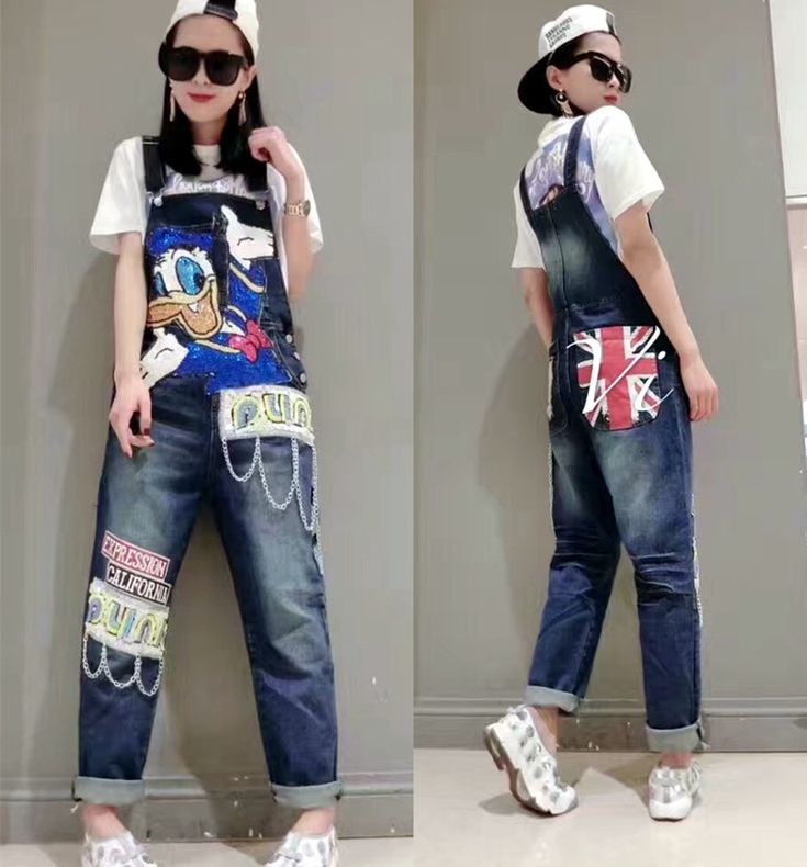 Cheap fashion jumpsuit, Buy Quality jumpsuit fashion directly from China overall jumpsuit Suppliers: 2017 new Spring fashion cute cartoon duck women jeans rompers jumpsuits sequined denim for young ladies denim jeans overall NZ13