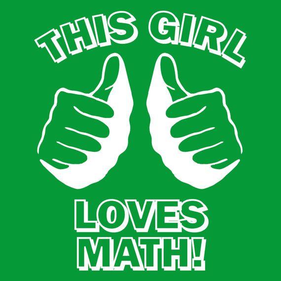 Womens THIS GIRL loves MATH t shirt geek nerd dork geekery funny youth shirt green on Etsy, $14.00
