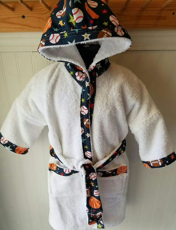 Child-Robes-Boy-Bath-Boys-Robe-Blue-Sports-Football-Baseball-B