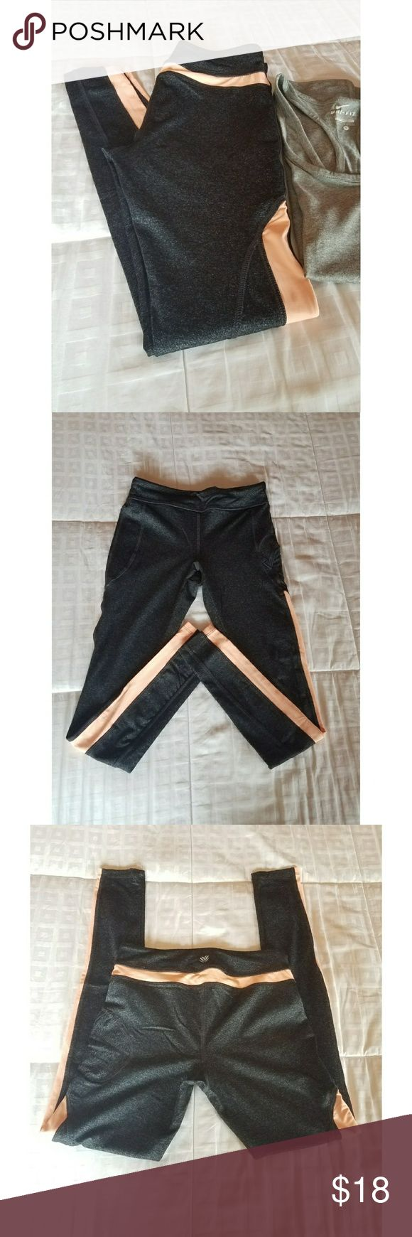 Leggings High- Waisted, thick comfy material, vibrant fun peach color block that run down the thighs and accross back, never worn but tags were removed, has inside pocket for keys/cards/cash/or phone (and also pocket on the side (as shown on pic 4), brings drawstring but can be used without it, breathable material for those hot days at the gym! 💪 Forever 21 Pants Leggings