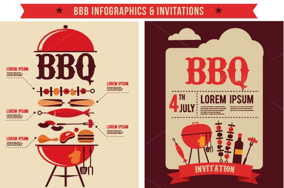 BBQ Infographics & Party Invitations by zoya on Creative Market