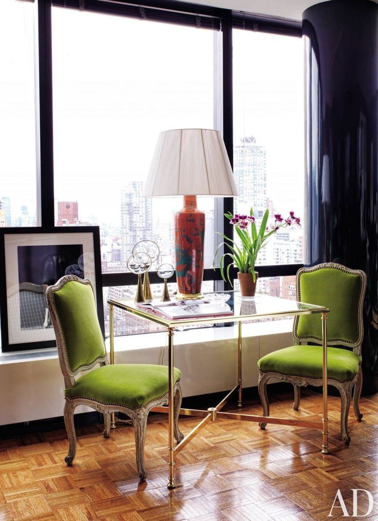 A French Games Table Offers Modest Dining Surface In Todd Alexander Romanos New York Pied Terre The Chaises La Reine Are Covered Parrot Green