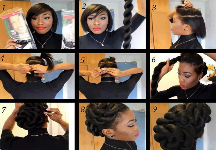 Genius! Fake it 'til you make it! Per Facebook member: She parted her hair and tied it in two sections, then bobby pinned it on one like you do a phony pony and wrapped it around pinning as she went.  Source: Natural Hair Love Affair Facebook https://www.facebook.com/photo.php?fbid=597563060306735&set=a.170208243042221.46325.167735719956140&type=1&theater