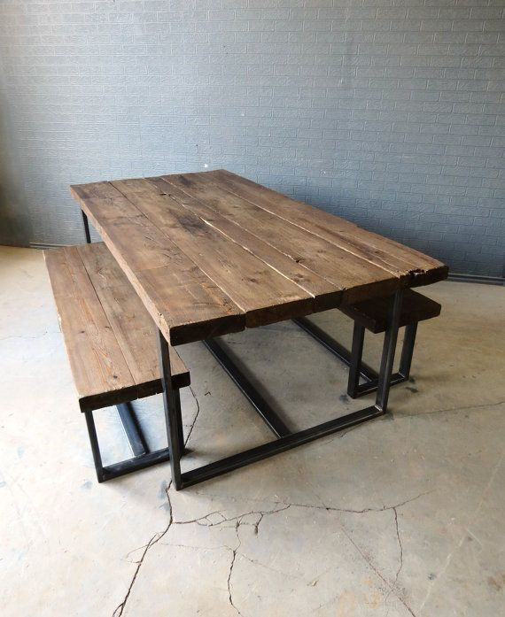 reclaimed industrial chic 6 8 seater solid wood and metal dining table 003 bar cafe bar. Black Bedroom Furniture Sets. Home Design Ideas