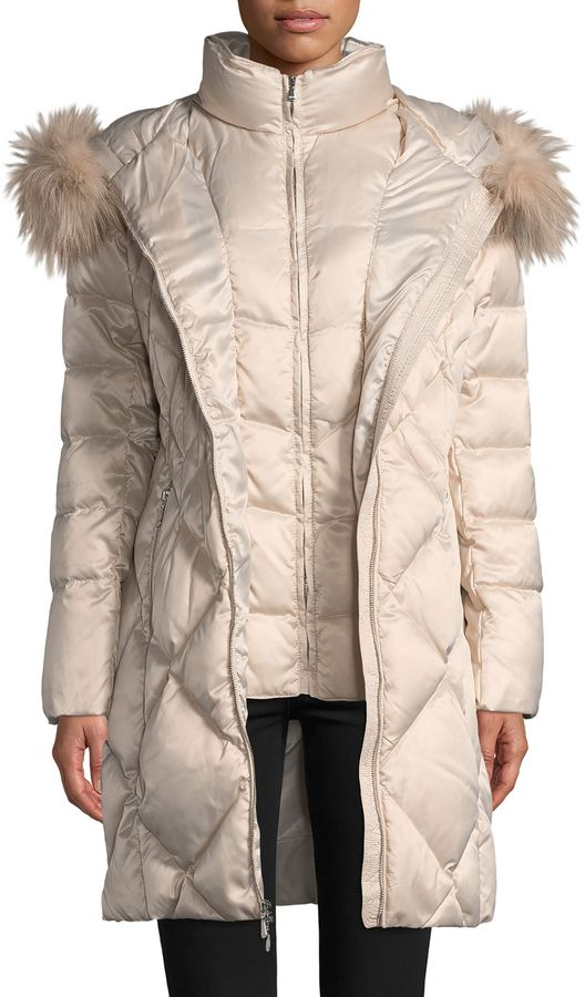 1 Madison Women's Fox Fur-Trimmed Down Puffer Coat