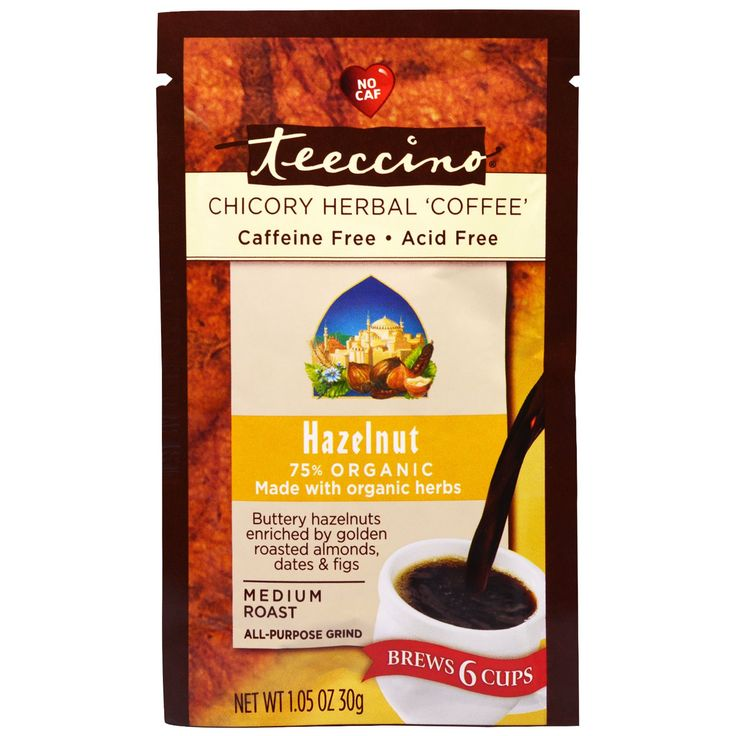 Teeccino, Chicory Herbal Coffee, Medium Roast, Hazelnut, Caffeine Free, 1.05 oz (30 g)