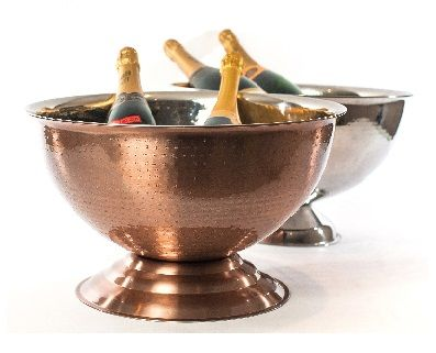 6031 Cuisivin Bel-Air Barware – Beverage Tub (Chrome Finish)  Serve in style with the new Cuisivin Bel-Air Barware Collection. The beautiful hand crafted collection of barware is made of stainless steel with an accented hand-hammered exterior and mirror copper finish.