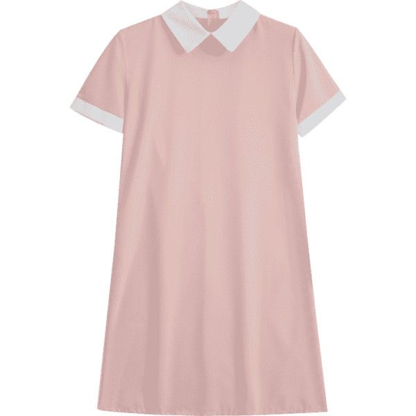 Back Zipper Two Tone Mini Dress (1.730 RUB) ❤ liked on Polyvore featuring dresses, pink, short pink dress, two-tone dresses, pink cocktail dress, two-tone dress and mini dress