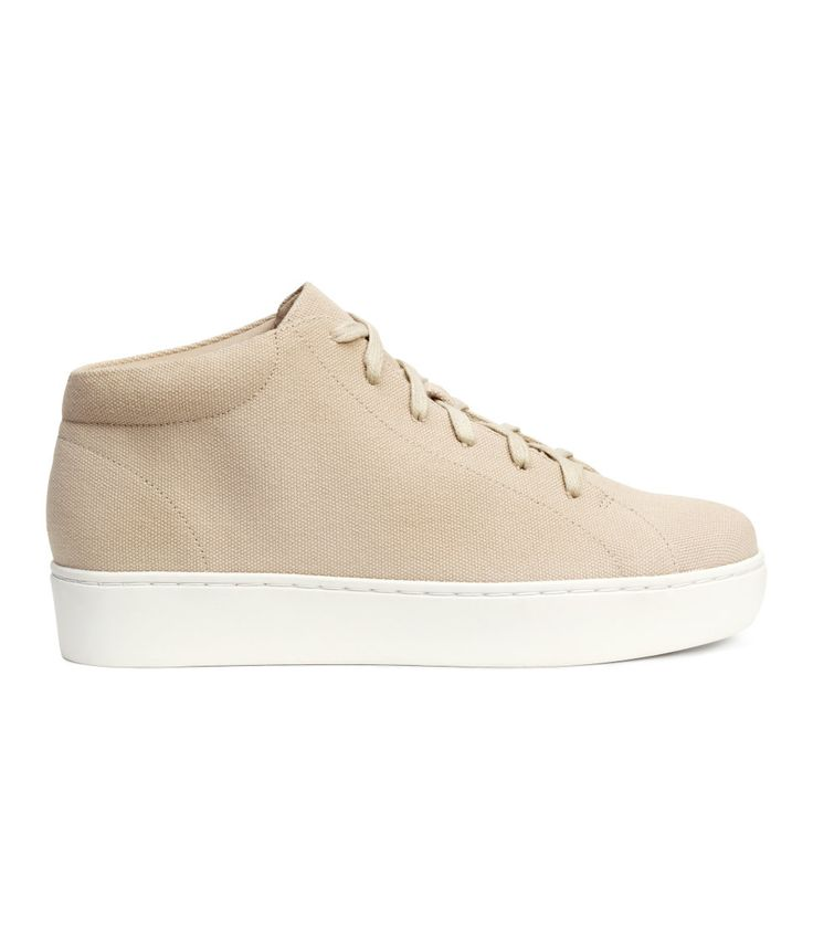 Ankle-high platform sneakers in thick cotton canvas. Lightly padded edge, laces, fabric lining and insoles, and rubber soles.  | H&M Shoes