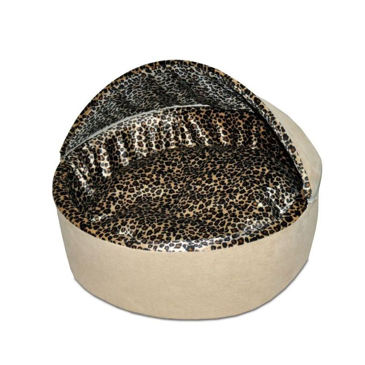 Thermo-Kitty Deluxe Small Tan Leopard Hood Heated Cat Bed