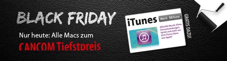 Nur heute extra Tiefpreise auf alle Macs und zusätzlich einen 50,-€ iTunes Gutschein in unserem Online-Shop unter www.cancom.de und www.cancom.at