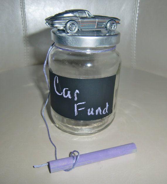 """Bel Air Car >> Chalkboard Glass Car Fund Jar or """"Piggy"""" Bank in Silver ..."""