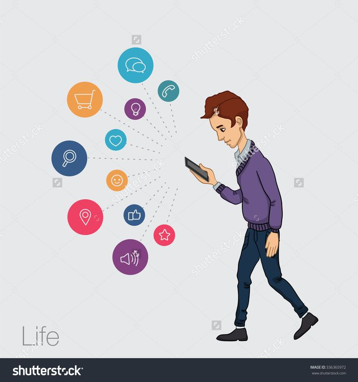 The Guy Walking With Phone In Hand. Mobile App For Smartphone. Cloud Services And Technologies In Mobile Devices. Vector Illustration Of Trends Technologies For Presentations, Articles, Slide Shows. - 336365972 : Shutterstock