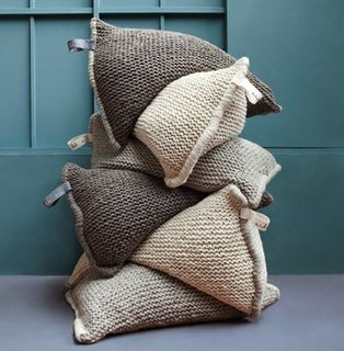 giant knitted pillows