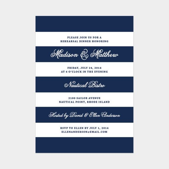Printed Nautical Rehearsal Dinner Invitation by fineanddandypaperie on Etsy, starting at $50.00