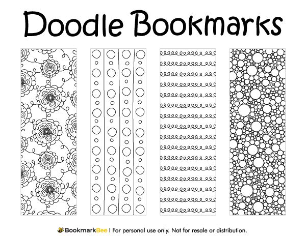 free printable doodle bookmarks download the pdf template at httpbookmarkbee