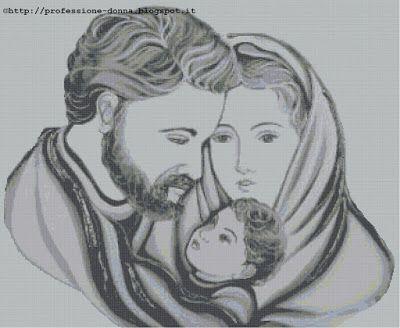 Professione Donna: Schema a punto croce: Sacra Famiglia_15