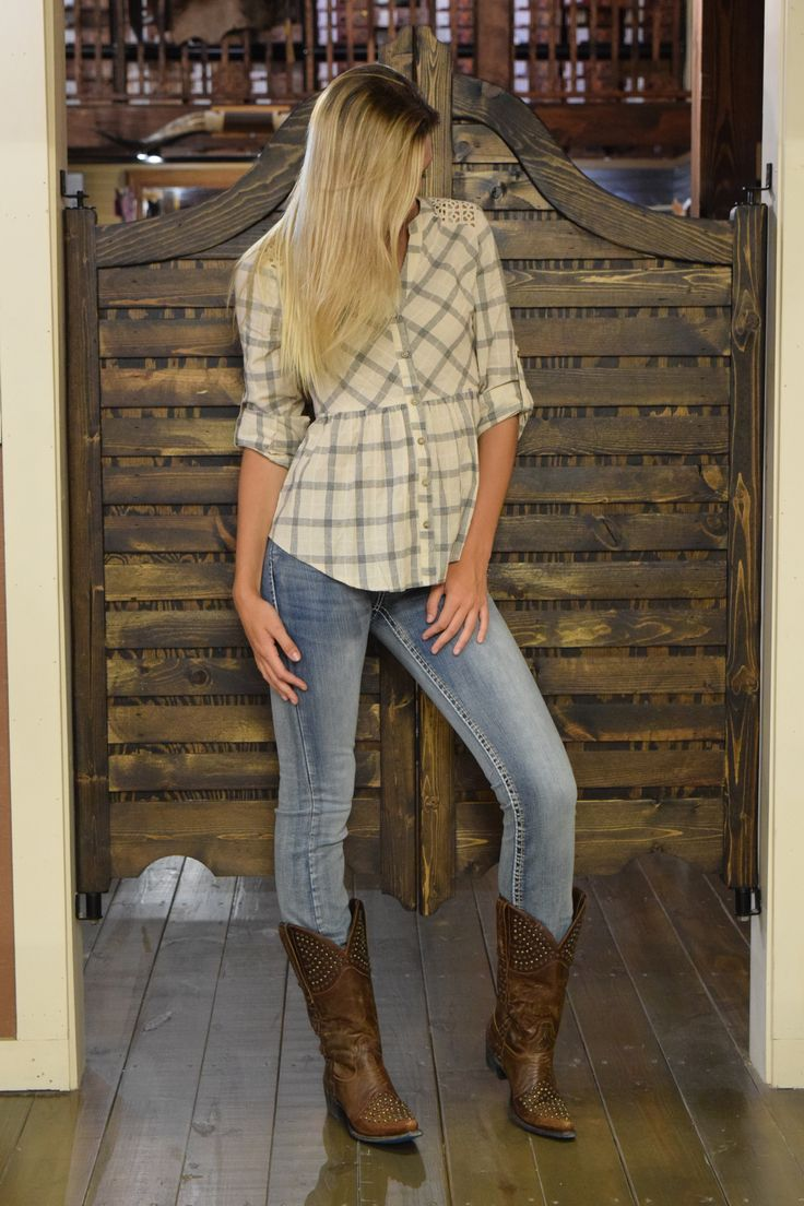 We're forever in love with this Miss Me outfit and Ariat International, Inc. boots! #missmejeans #plaid #rhinestones #trendy #love #weloveariat #skipsboots #goshop #putyourbootson #gocountry #countrychic #womensfashion #summer