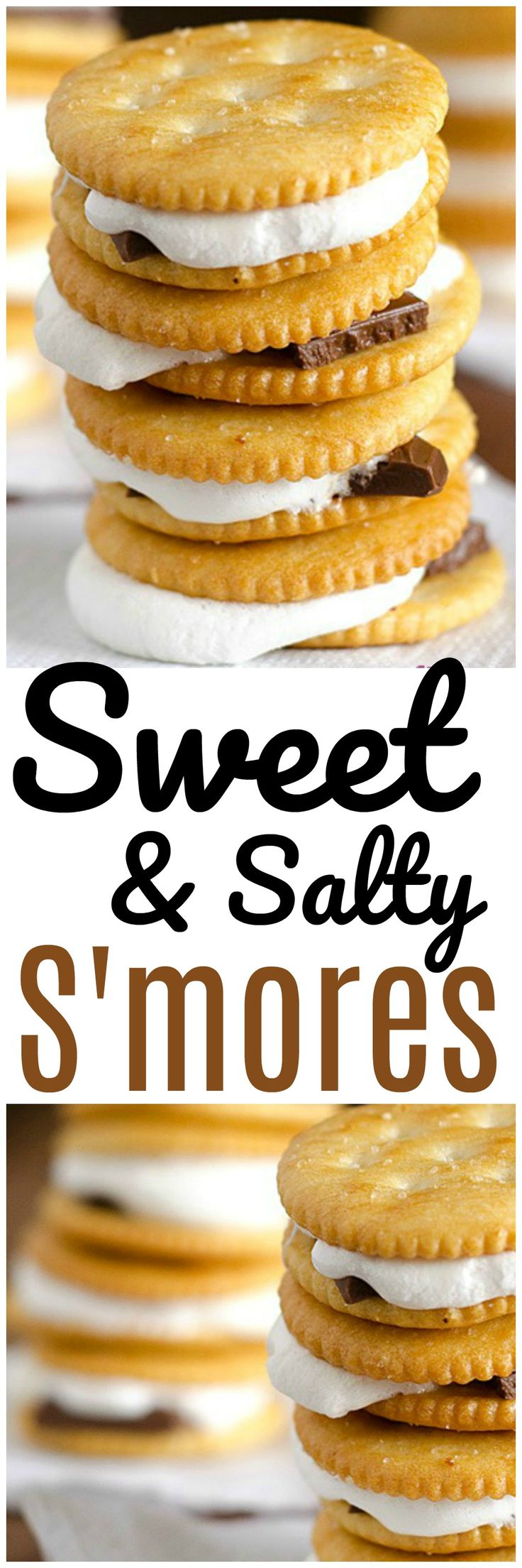 Sweet and Salty S'mores are INCREDIBLE! They're crazy easy to make last minute too! No campfire required. Bake these sweet and salty s'mores for a last minute party idea, family fun night or romantic date night at home! Sweet and salty s'mores are fun food at it's finest!