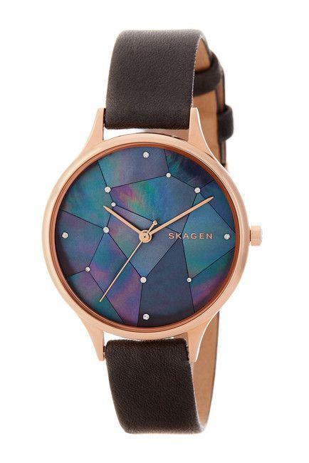 Image of Skagen Women's Leather Strap Watch