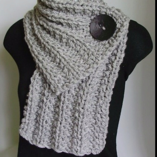 Chunky scarf w/ button; fits nicely under jacket without being bulky