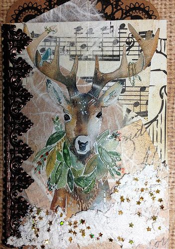 Wintery ATC with a Deer | by Donetta's Beaded Treasures