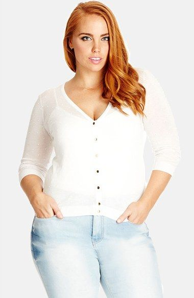 City Chic 'Miss Dobby' Sheer V-Neck Cardigan (Plus Size) available at #Nordstrom