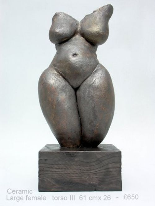 Ceramic Torsos sculpture by artist Jenny Eaton titled: 'Large Female Torso III (Earth Mother Torso Statue)' £650 #sculpture #art