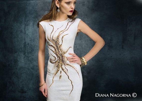 Felted dress  Nuno-felt dress Elegant dress by DianaNagorna