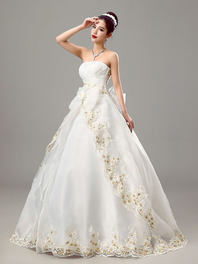 Ball Gown Wedding Dress Wedding Dresses in Color Floor-length Strapless Organza with Bow / Criss-Cross / Embroidered - USD $59.99