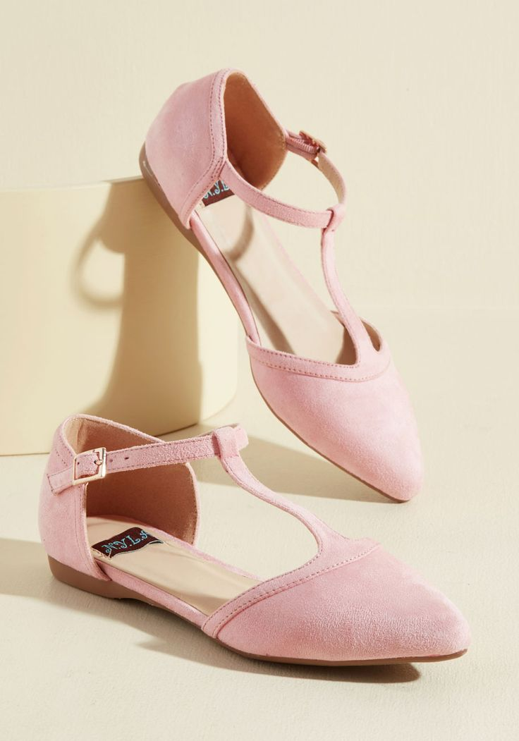 Turn Back Prime Vegan Flat in Petal. The best way to relive memories of jaunts enjoyed in these pink flats? #pink #modcloth