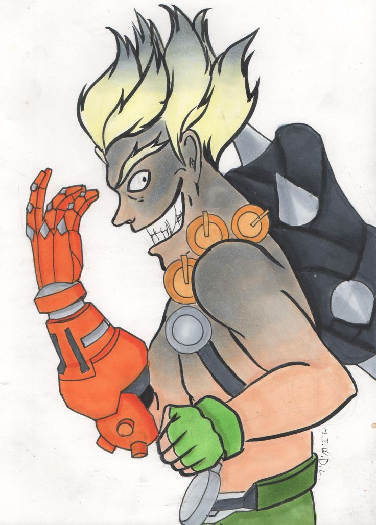 overwatch junkrat draw art work blizzard copic markers