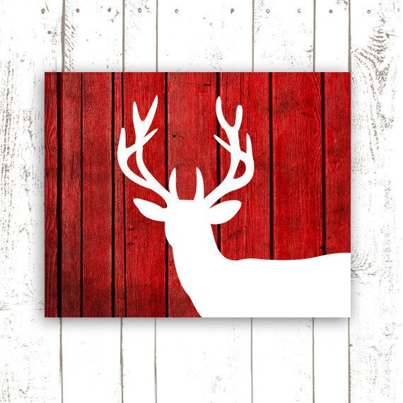 Hey, I found this really awesome Etsy listing at https://www.etsy.com/listing/175107424/deer-print-rustic-wood-print-red-home
