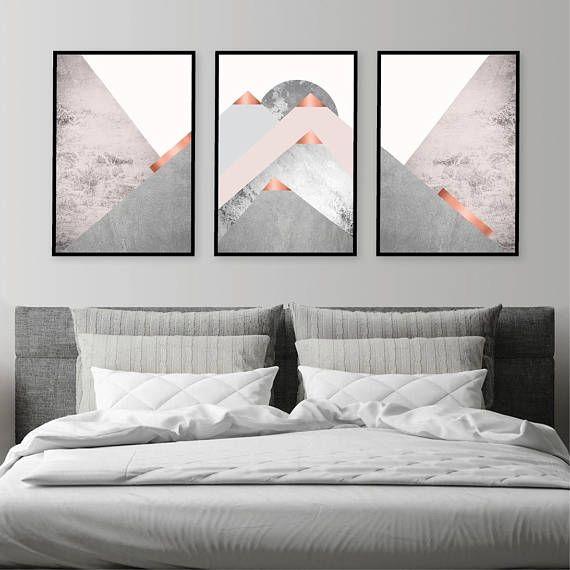 Set De 3 Montagnes Blush Rose Gris Cuivre Scandinave Moderne