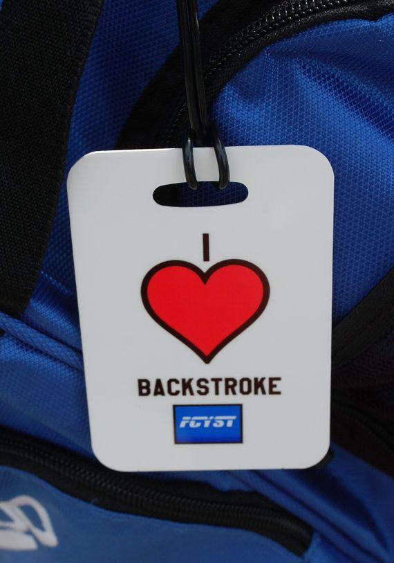 'Corazón' espalda nadar etiqueta del bolso por FlipTurnTags en Etsy