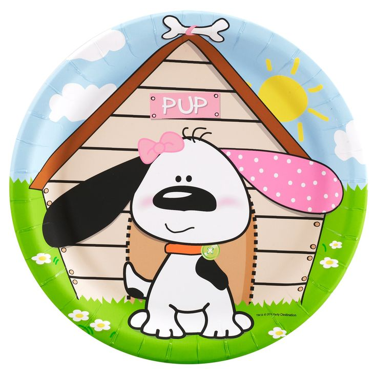 Playful Puppy Pink Dinner Plates from BirthdayExpress.com