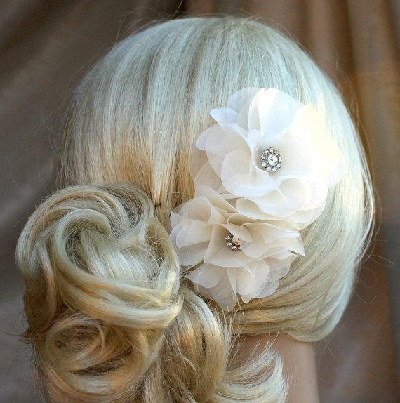 Check out Silk organza flowers hair clip for wedding reception bridal party  wedding hair piece - 2 ivory peonies on wearableartz