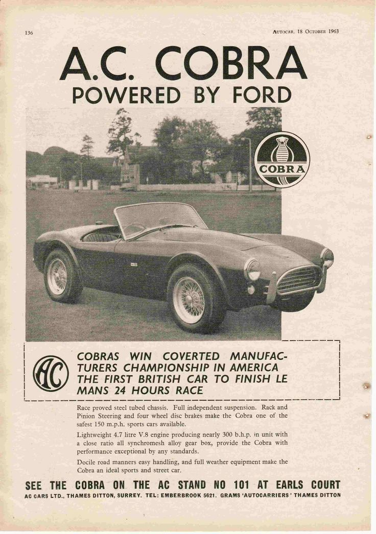 Carroll Shelby. Excellent page from Autocar 1963 publicising the race success of the first AC Cobra! #ACCobra289 #ShelbyCobra
